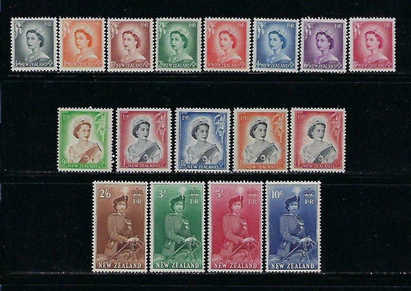 NEW ZEALAND SCOTT #288-301 1953-57 QEII SET - MINT NEVER  HINGED