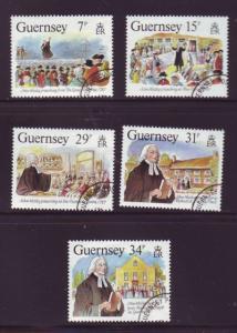 Guernsey Sc 362-6 1987 John Wesley Visit stamps used