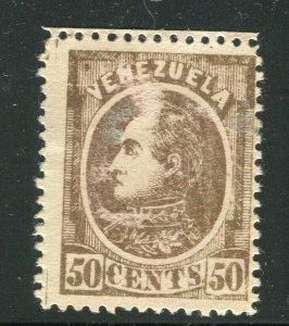 VENEZUELA; 1880 classic Bolivar issue fine Mint hinged Shade of 50c. value