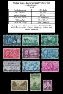 1945 US Postage Stamps Complete Commemorative Year Set Mint