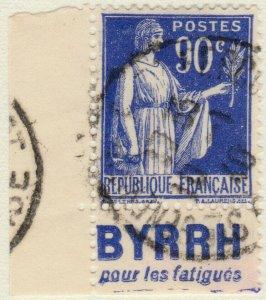 FRANCE - 1938 Pub BYRRH (pour les fatigues) sur Yv.368a 90c Paix t.I (A2)