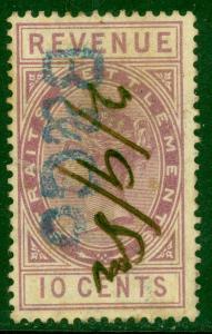 STRAITS SETTLEMENTS 1882 10c Purple QV Revenue Bft 20 VFU B&Co. Handstamp