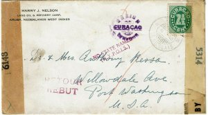 Curacao 1943 St. Nicolaas cancel on printed matter cover to U.S., censor, return
