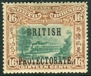 NORTH BORNEO-1901-5 16c Green & Chestnut Perf 14½x15 OVPT.  A mounted mint examp