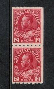 Canada #124 Very Fine Mint Coil Pair - Bottom Stamp Never Hinged Top Hinged