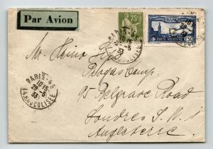 France 1933 Airmail Cover to UK / Rond Point Hotel - Z13770