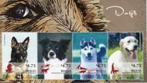Bequia Grenadines St Vincent 2014 Dogs I 4v M/S Siberian Husky German Shepherd