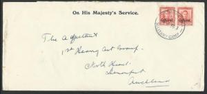 NEW ZEALAND 1940 OHMS cover GVI 1d Officials, NGARUAWAHIA MILITARY CAMP....12315