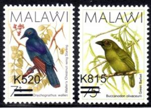 Malalwi - 2016 Birds Surcharges Set MNH**