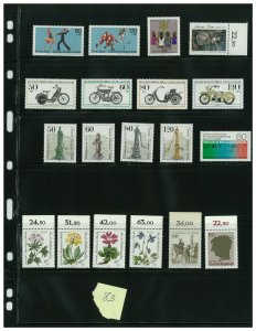Germany Berlin 1983:  19 Mint Never Hinged Stamps in Sets, Scott Value = $27.70