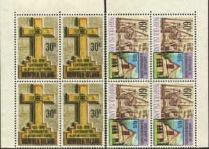 Norfolk Island 1975 SG168-169 Barnabas Chapel set blocks FU