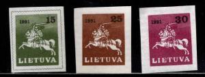 LITHUANIA Scott 385-387 MNH** 1991 Vytis the White Knight imperfs