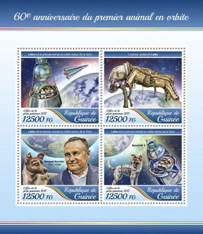 Guinea - 2017 First Animal in Orbit - 4 Stamp Sheet - GU17403a
