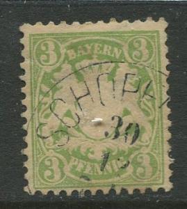 Bavaria -Scott 48 - Coat of Arms -1881 - FU - Single 3pf Stamp