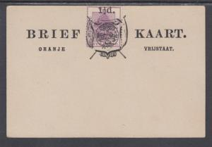 Orange Free State H&G 10 mint 1893 1½p surcharge on 2p violet Formula Card
