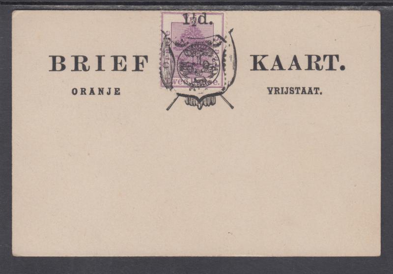 Orange Free State H&G 10 mint 1893 1½p surcharge on 2p violet Formula Card
