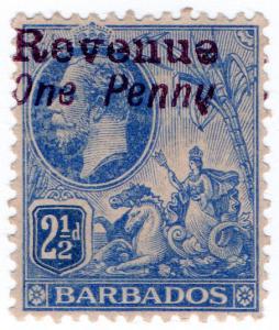 (I.B) Barbados Revenue : Duty Stamp 1d on 2½d (violet OP)