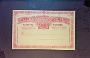 Honduras Early 3 Cent Red UPU Postal Card Unused - Z1257