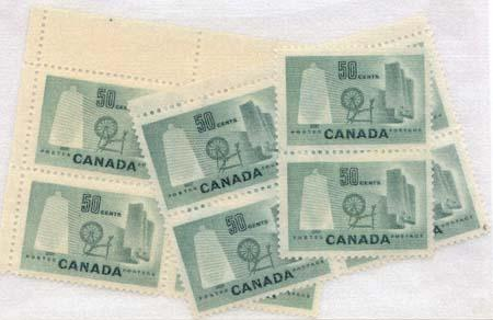 Canada USC #334 Mint 1953 50c Textile Two block and Two Singles VF-NH