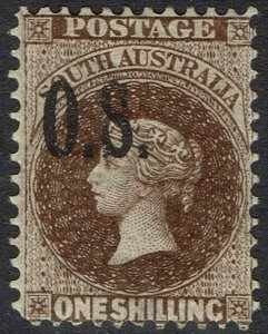SOUTH AUSTRALIA 1891 QV OS 1/- WMK BROAD STAR PERF 11.5-12