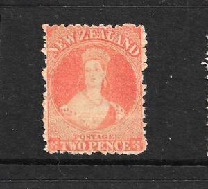 NEW ZEALAND 1873 2d  VERMILLION  FFQ  MLH  P12 1/2  NO WMK  CP A2T SG 138 CHALON