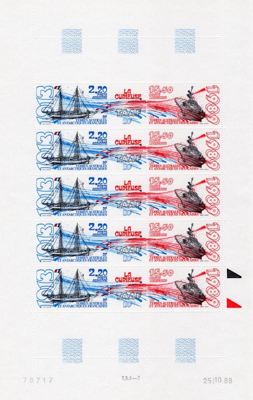 FSAT/TAAF 1989 Ships La Curieuse Mini-Sheetlet 5 pairs Sc#C105a  MNH