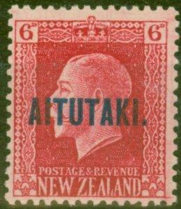 Aitutaki 1917 6d Carmine SG17 Fine Lightly Mtd Mint