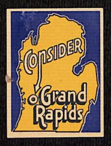Vintage Consider Grand Rapids Poster Stamp - Michigan (Chamber of Commerce?)