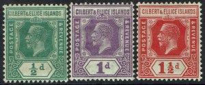 GILBERT & ELLICE ISLANDS 1922 KGV 1/2D 1D AND 11/2D WMK MULTI SCRIPT CA