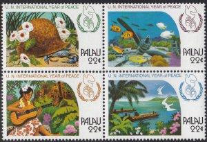 Palau 1986 MNH Sc 112a Block of 4 22c UN International Peace Year