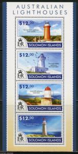 SOLOMON ISLANDS 2015 LIGHTHOUSES SHEET   MINT NH