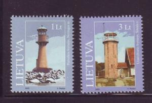 Lithuania Sc 741-2 2003 Lighthouses  stamp  set mint NH