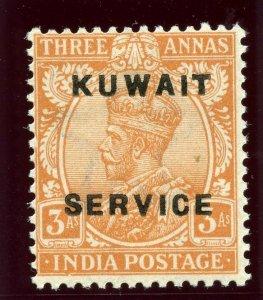 Kuwait 1923 KGV Official 3a orange-brown superb MNH. SG O6. Sc O6.