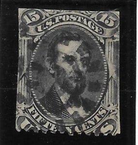 U.S. Scott #77 Used 15c Abraham Lincoln No Grill   2018 CV $170.00