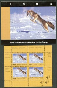 NOVA SCOTIA #4M 1995 COYOTE CONSERVATION STAMP MINI SHEET OF 4 IN FOLDER