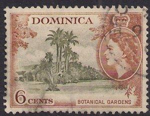 Dominica 1954 - 62 QE2 6ct Green & Brown Botanical Gardens SG 148 ( F734 )