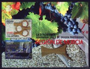 Spain. 2017. bl299. Spanish gastronomy, food, rice, wine, grapes. MNH.