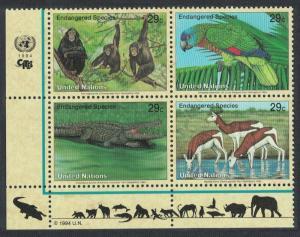 UN New York Birds Chimpanzee Amazon Crocodile Gazelles Bottom Left block of 4