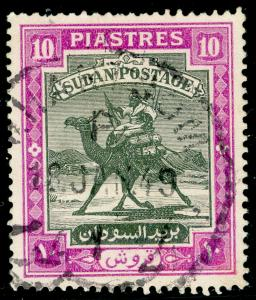 SUDAN SG109, 10p black & mauve, FINE USED. Cat £10.