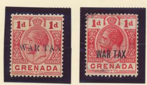 Grenada Stamp Scott #MR1 and MR2 War Tax, Mint Hinged - Free U.S. Shipping, F...