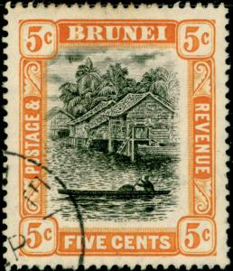 BRUNEI SG40, 5c black & orange, FINE USED. CDS.