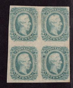 $CSA SC#12e green, M/H/F-VF, block of 4, OG, inclusion thin on 1 stamp, CV. $500