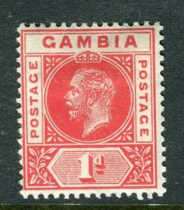 GAMBIA; 1912 early GV issue fine Mint hinged 1d. value, Shade