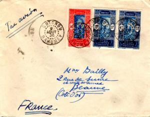 Dahomey 50c and 1F (2) Man Climbing Oil Palm 1936 Cotonou, Dahomey Airmail to...