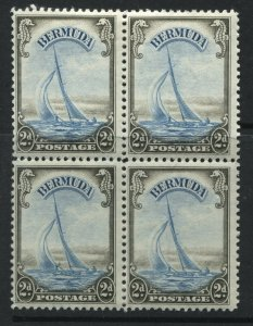 Bermuda 1938 2d brown black & turquoise blue block of 4 mint o.g.
