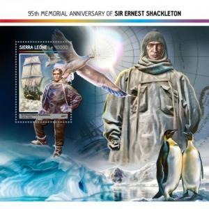 SIERRA LEONE - 2017 - Ernest Shackleton, 95th Death Anniv - Perf Souv Sheet-MNH