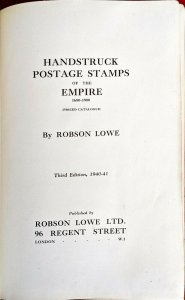 1940 HANDSTRUCK POSTAGE STAMPS OF THE EMPIRE Robson Lowe Postal History Pmks.