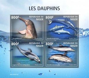 NIGER - 2019 - Dolphins - Perf 4v Sheet - MNH