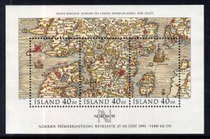 Iceland 715 Map Souvenir Sheet MNH VF