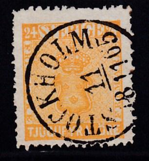 Sweden 1858 24o orange Used with a Beautiful SON Stockholm Strike VF/Used(o)